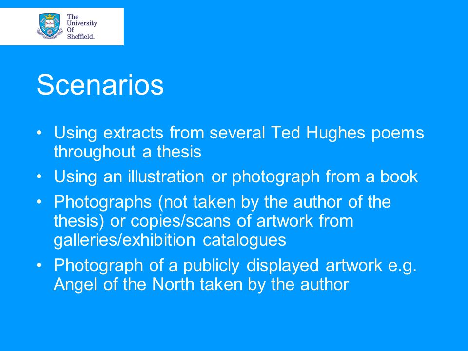 Scenarios Using extracts from several Ted Hughes poems throughout a thesis Using an illustration or photograph from a book Photographs (not taken by t