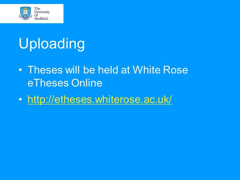 Uploading Theses will be held at White Rose eTheses Online http://etheses.whiterose.ac.uk/