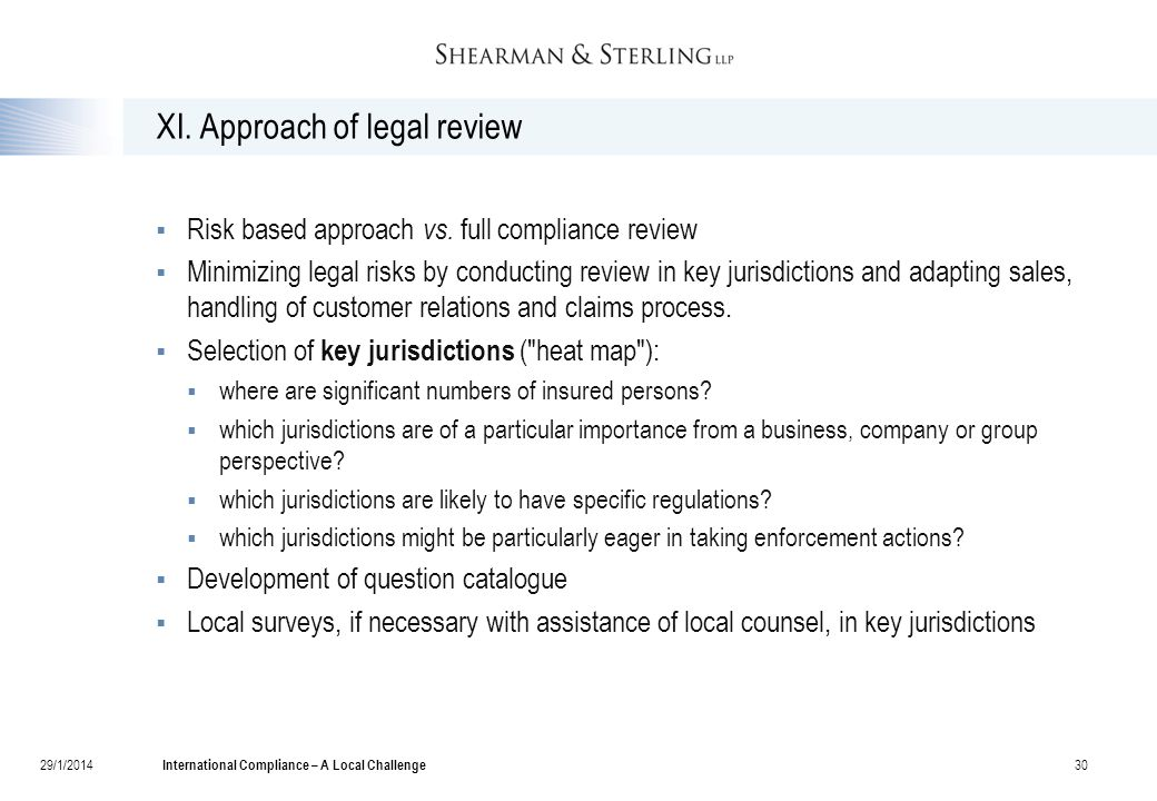 XI. Approach of legal review  Risk based approach vs.