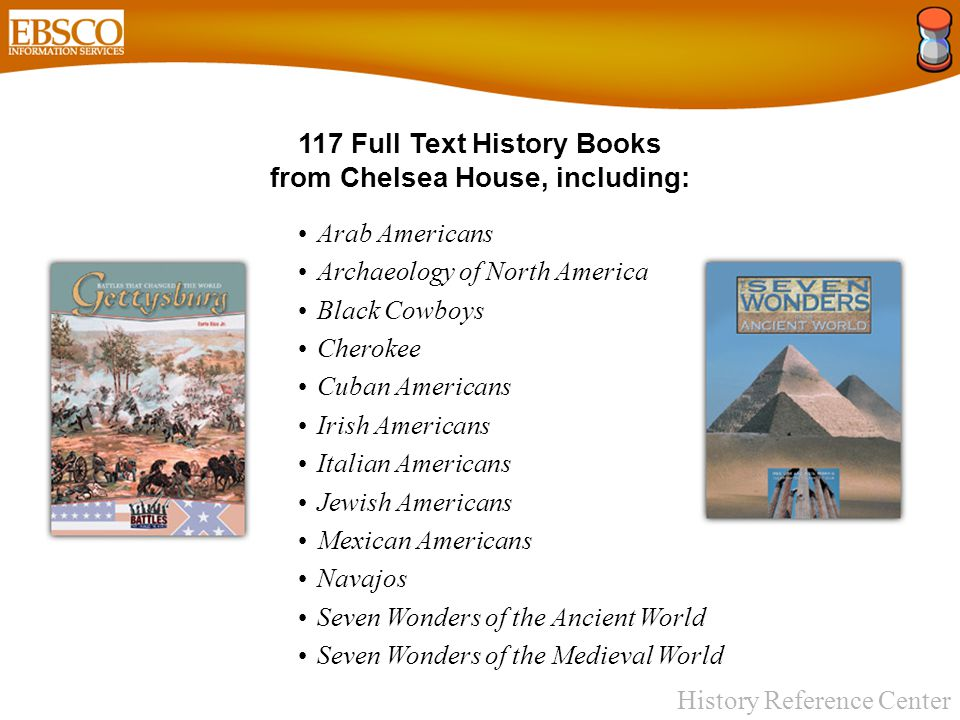 History Reference Center 50 Full Text History Books from Compass Point Books, including: African-Americans in the Colonies Battle of Gettysburg Bill of Rights Ellis Island Emancipation Proclamation French & Indian War Great Depression Great Women of the Old West Jamestown Colony Lewis & Clark Expedition Louisiana Purchase Thirteen Colonies