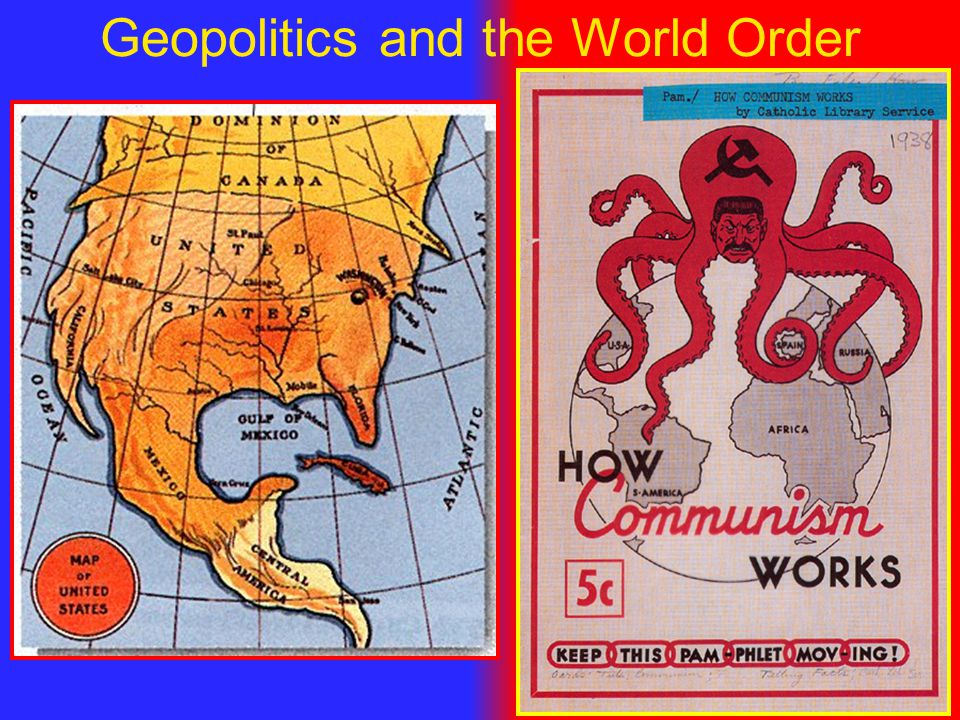 Geopolitics The ability of a state (or nation) to control territory and affect the foreign policy of states, nations, and international relationsThe ability of a state (or nation) to control territory and affect the foreign policy of states, nations, and international relations Examples of Geopolitics in action:Examples of Geopolitics in action: –Colonialism / (threat of) Military Intervention –Neocolonialism / Imperialism –Dependency and International Aid –Treaties, Organizations, Alliances, Agreements (EU, NAFTA, NATO, World Bank, UN, etc.)