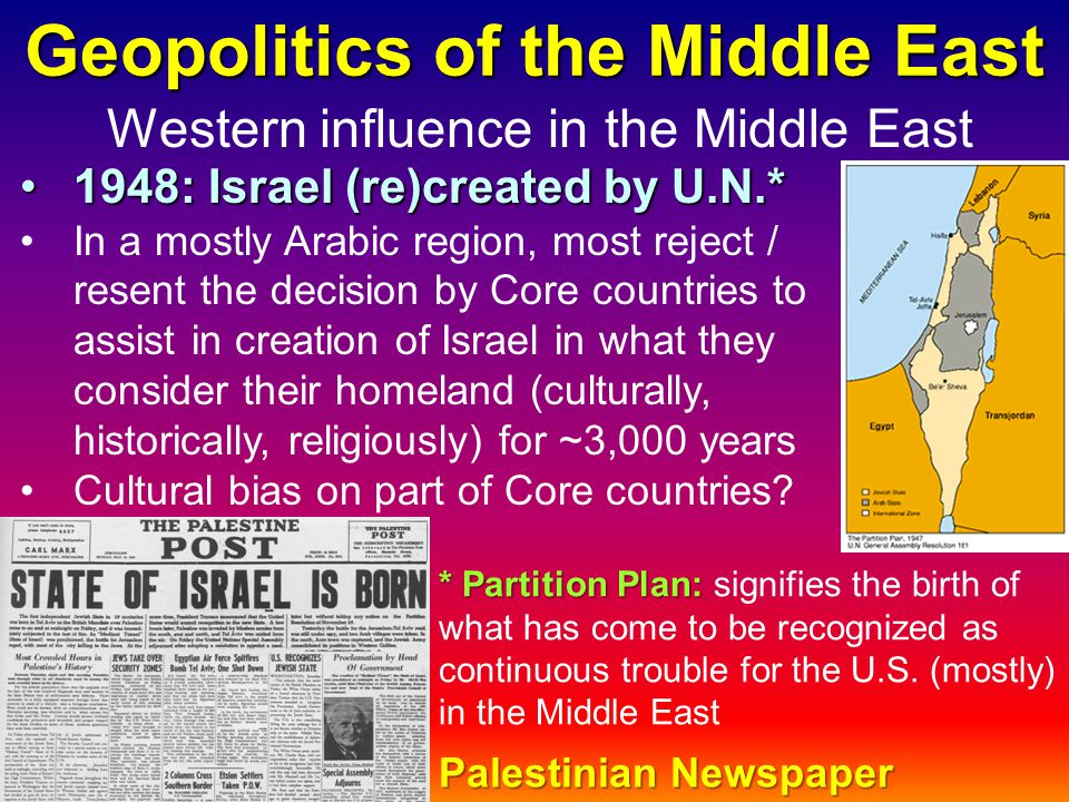 Geopolitics of the Middle East Western influence in the Middle East 1948: Israel (re)created by U.N.*1948: Israel (re)created by U.N.* In a mostly Ara