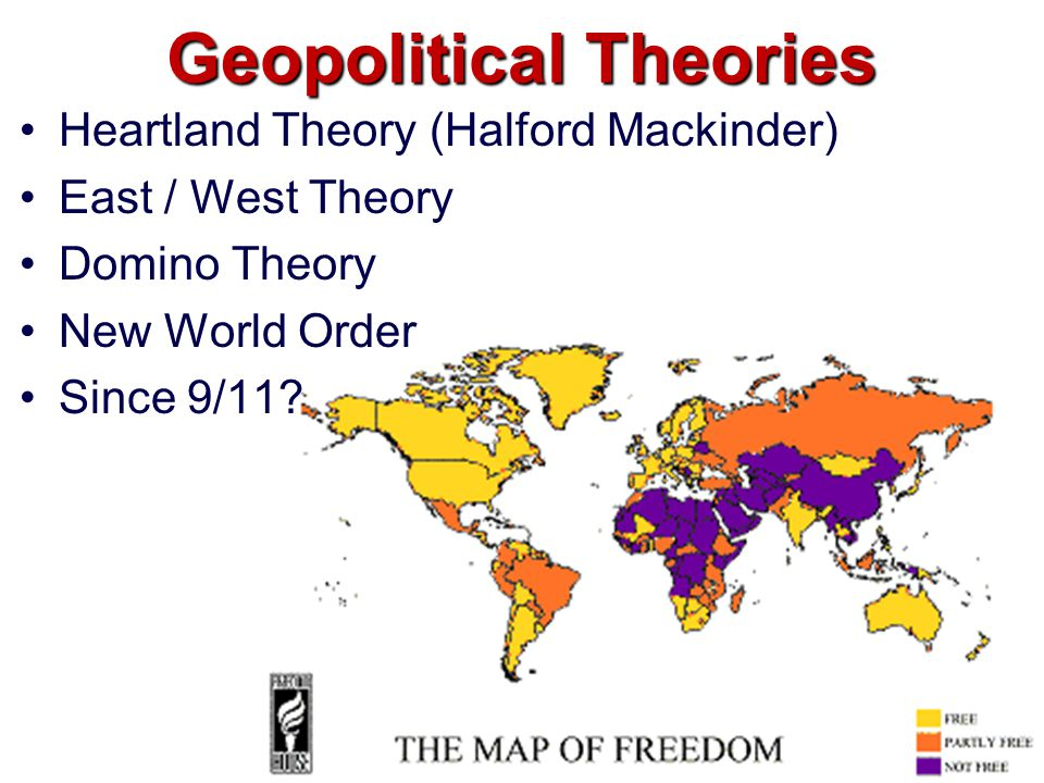 Geopolitical Theories Heartland Theory (Halford Mackinder) East / West Theory Domino Theory New World Order Since 9/11