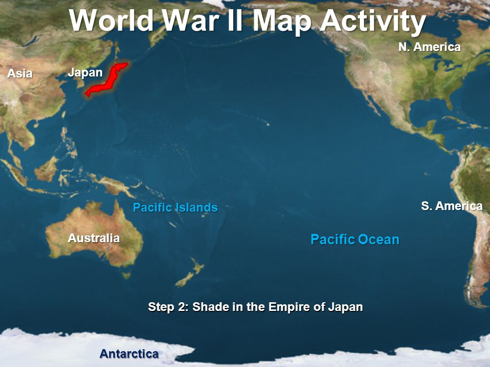 World War II Map Activity Step 13: Guam and the Philippines were fought over (1944) as U.S.