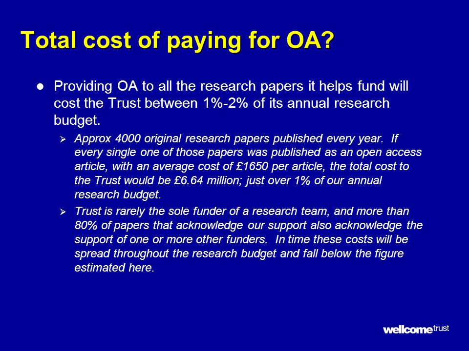 Total cost of paying for OA.