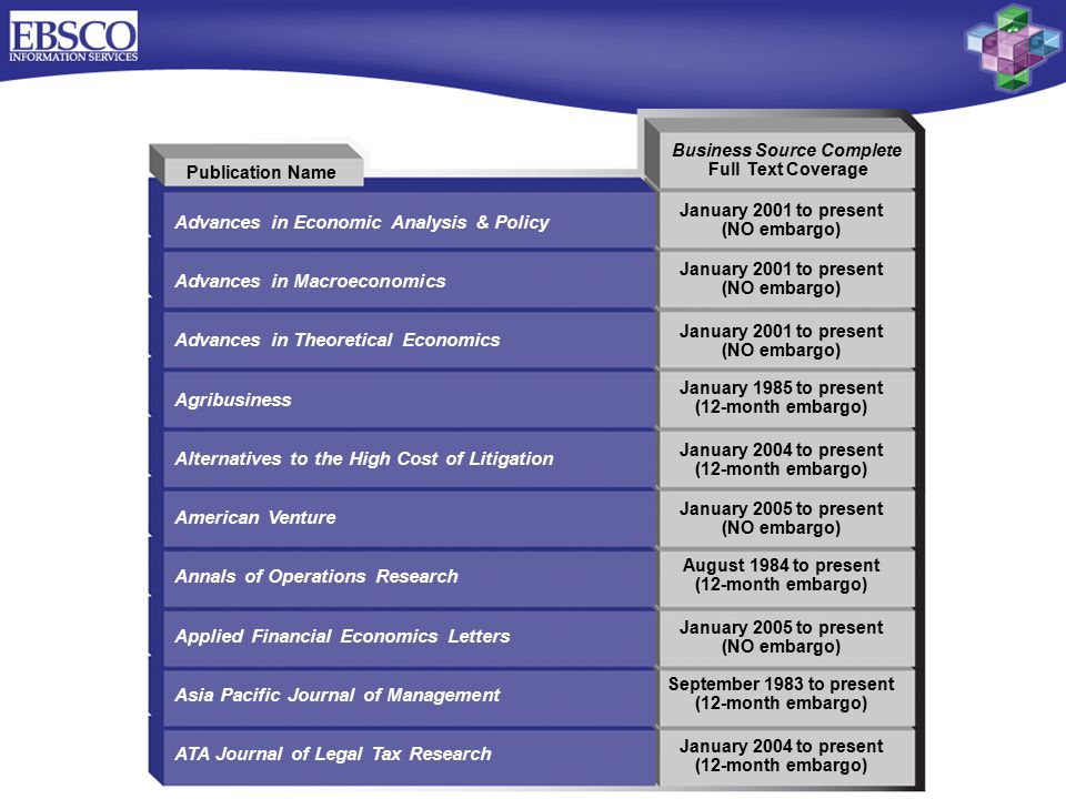 Publication Name Advances in Economic Analysis & Policy Advances in Macroeconomics Advances in Theoretical Economics Agribusiness Alternatives to the High Cost of Litigation American Venture Annals of Operations Research Applied Financial Economics Letters Asia Pacific Journal of Management ATA Journal of Legal Tax Research Business Source Complete Full Text Coverage January 2001 to present (NO embargo) January 2001 to present (NO embargo) January 2001 to present (NO embargo) January 1985 to present (12-month embargo) January 2004 to present (12-month embargo) January 2005 to present (NO embargo) August 1984 to present (12-month embargo) January 2005 to present (NO embargo) September 1983 to present (12-month embargo) January 2004 to present (12-month embargo)