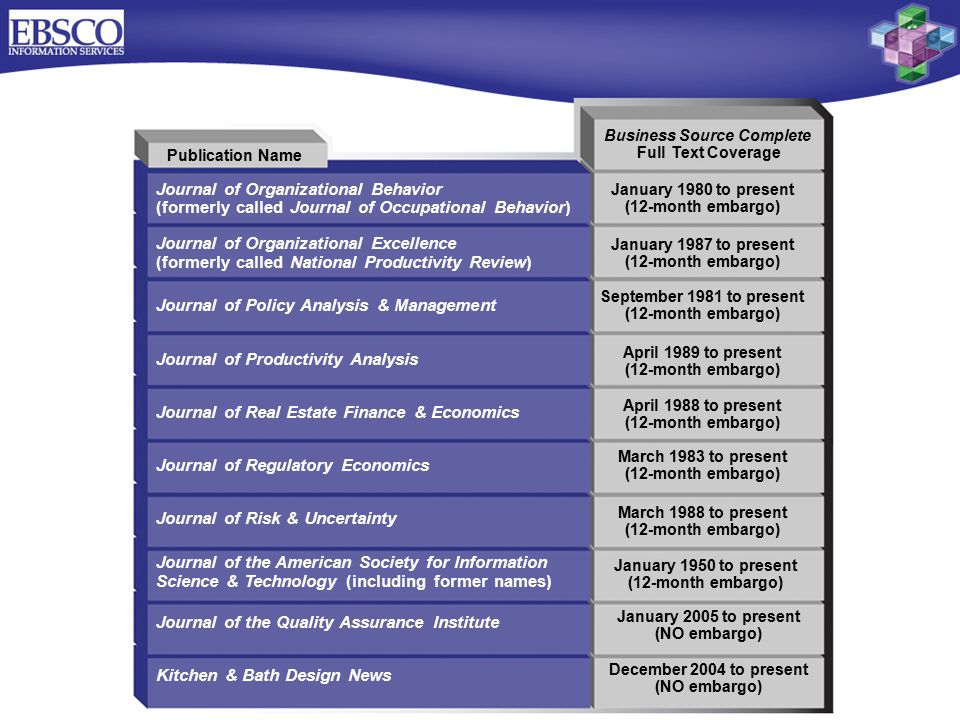 Publication Name Journal of Organizational Behavior (formerly called Journal of Occupational Behavior) Journal of Organizational Excellence (formerly called National Productivity Review) Journal of Policy Analysis & Management Journal of Productivity Analysis Journal of Real Estate Finance & Economics Journal of Regulatory Economics Journal of Risk & Uncertainty Journal of the American Society for Information Science & Technology (including former names) Journal of the Quality Assurance Institute Kitchen & Bath Design News Business Source Complete Full Text Coverage January 1980 to present (12-month embargo) January 1987 to present (12-month embargo) September 1981 to present (12-month embargo) April 1989 to present (12-month embargo) April 1988 to present (12-month embargo) March 1983 to present (12-month embargo) March 1988 to present (12-month embargo) January 1950 to present (12-month embargo) January 2005 to present (NO embargo) December 2004 to present (NO embargo)