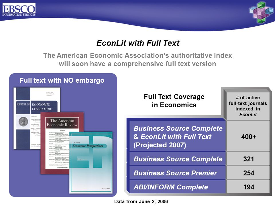 EconLit with Full Text Business Source Complete & EconLit with Full Text400+ (Projected 2007) Business Source Complete321 Business Source Premier254 ABI/INFORM Complete194 The American Economic Association's authoritative index will soon have a comprehensive full text version Full Text Coverage in Economics # of active full-text journals indexed in EconLit Full text with NO embargo Data from June 2, 2006