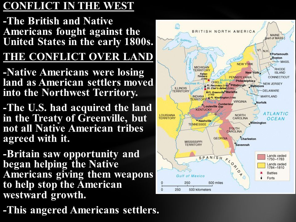 CONFLICT IN THE WEST -The British and Native Americans fought against the United States in the early 1800s. THE CONFLICT OVER LAND -Native Americans w