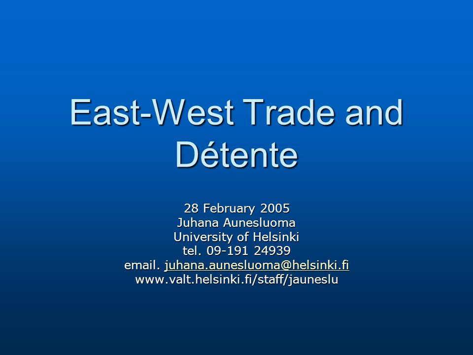 The Economy of Détente Europe: intensified economic East-West interaction Europe: intensified economic East-West interaction new US policy new US policy Kissinger: Our strategy was to use trade concessions as a political instrument, witholding them when Soviet conduct was adventurous and granting them in measured doses when the Soviets behaved cooperatively Kissinger: Our strategy was to use trade concessions as a political instrument, witholding them when Soviet conduct was adventurous and granting them in measured doses when the Soviets behaved cooperatively 1969 Export Administration Act 1969 Export Administration Act 1971 end of China embargo 1971 end of China embargo