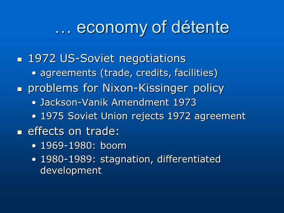 … economy of détente 1972 US-Soviet negotiations 1972 US-Soviet negotiations agreements (trade, credits, facilities)agreements (trade, credits, facili