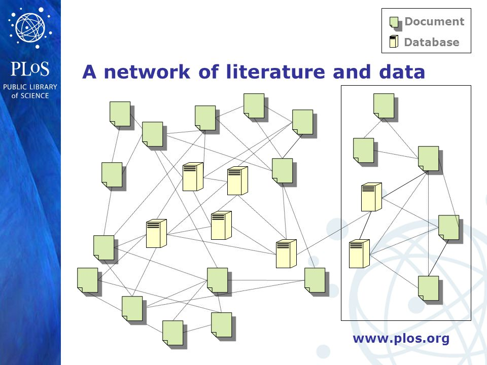www.plos.org A network of literature and data Document Database
