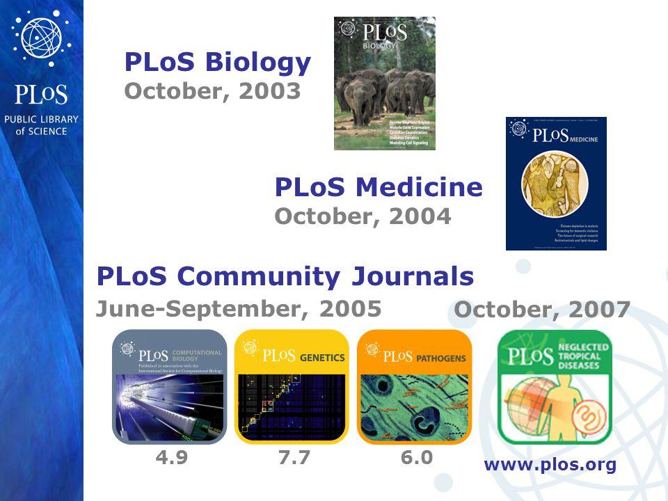 www.plos.org PLoS Biology October, 2003 PLoS Medicine October, 2004 PLoS Community Journals June-September, 2005 4.97.76.0 October, 2007