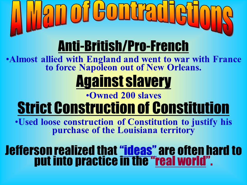 Anti-British/Pro-French Almost allied with England and went to war with France to force Napoleon out of New Orleans. Against slavery Owned 200 slaves