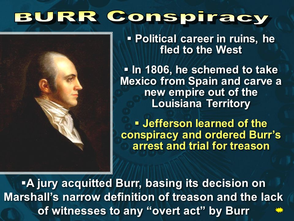  Political career in ruins, he fled to the West  In 1806, he schemed to take Mexico from Spain and carve a new empire out of the Louisiana Territory