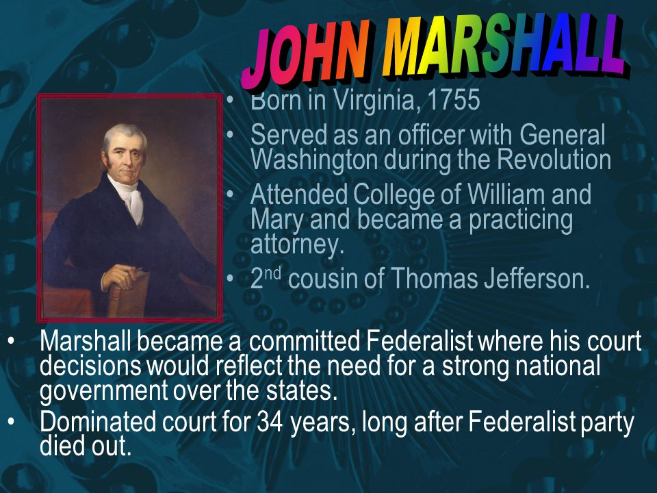 Born in Virginia, 1755 Served as an officer with General Washington during the Revolution Attended College of William and Mary and became a practicing