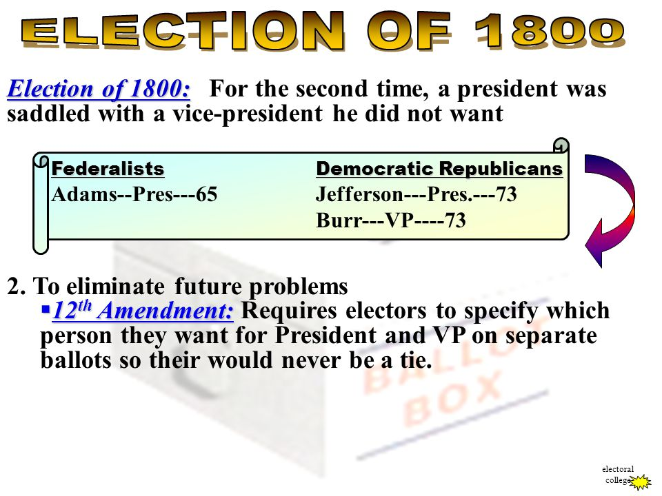 Election of 1800: Election of 1800: For the second time, a president was saddled with a vice-president he did not want 2. To eliminate future problems
