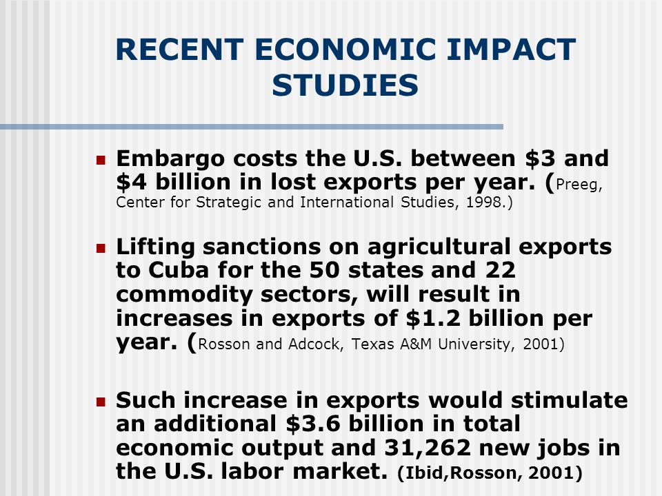 IMPACT OF FREE TRADE WITH CUBA IN THE FLORIDA ECONOMY Economic reforms in Cuba since the 1990's towards a more open market system will generate considerable business opportunities for the Florida economy (assuming these trends continue).