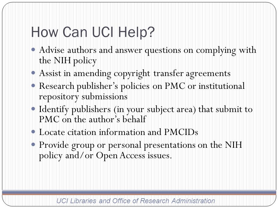 How Can UCI Help.