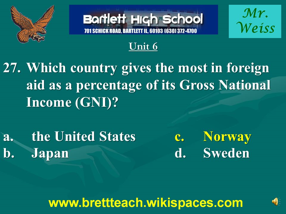 Mr. Weiss Unit 6 27.Which country gives the most in foreign aid as a percentage of its Gross National Income (GNI)? a.the United Statesc.Norway b.Japa