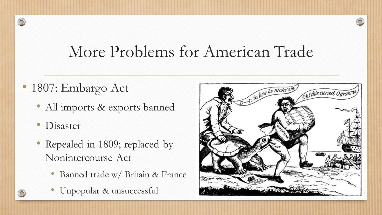 More Problems for American Trade 1807: Embargo Act All imports & exports banned Disaster Repealed in 1809; replaced by Nonintercourse Act Banned trade