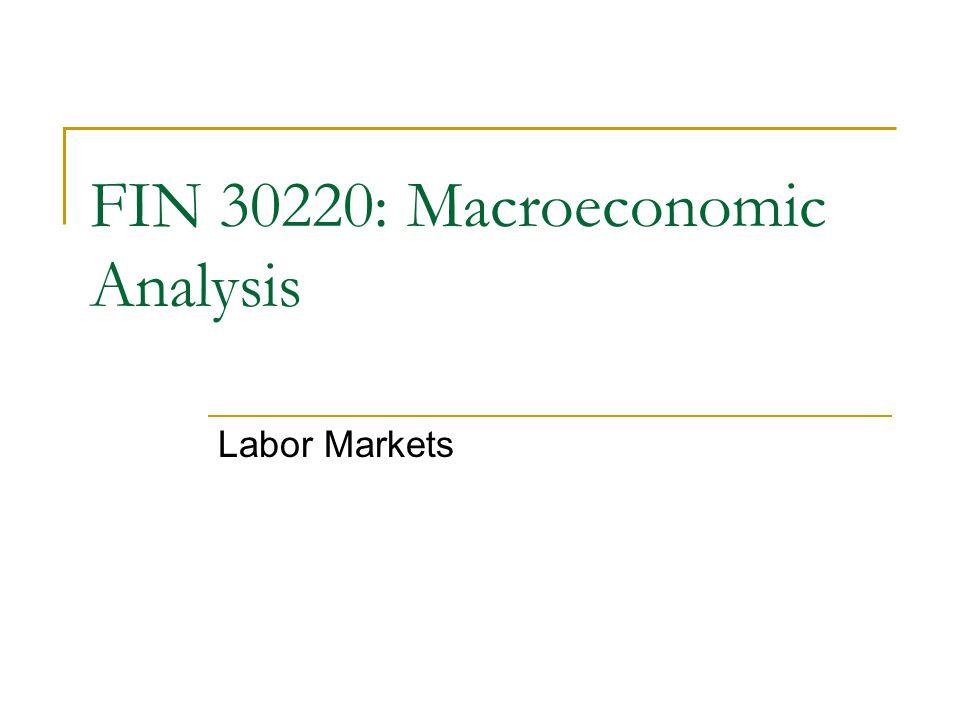 Labor Markets FIN 30220: Macroeconomic Analysis