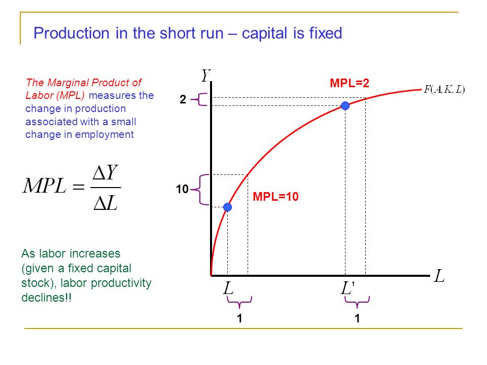 Production Functions measure the relationship between inputs and output Labor Capital (Fixed in Short Run) Output Productivity (Exogenous) Typically the production function used is Cobb-Douglas Labor's Share of Income Capital's Share of Income