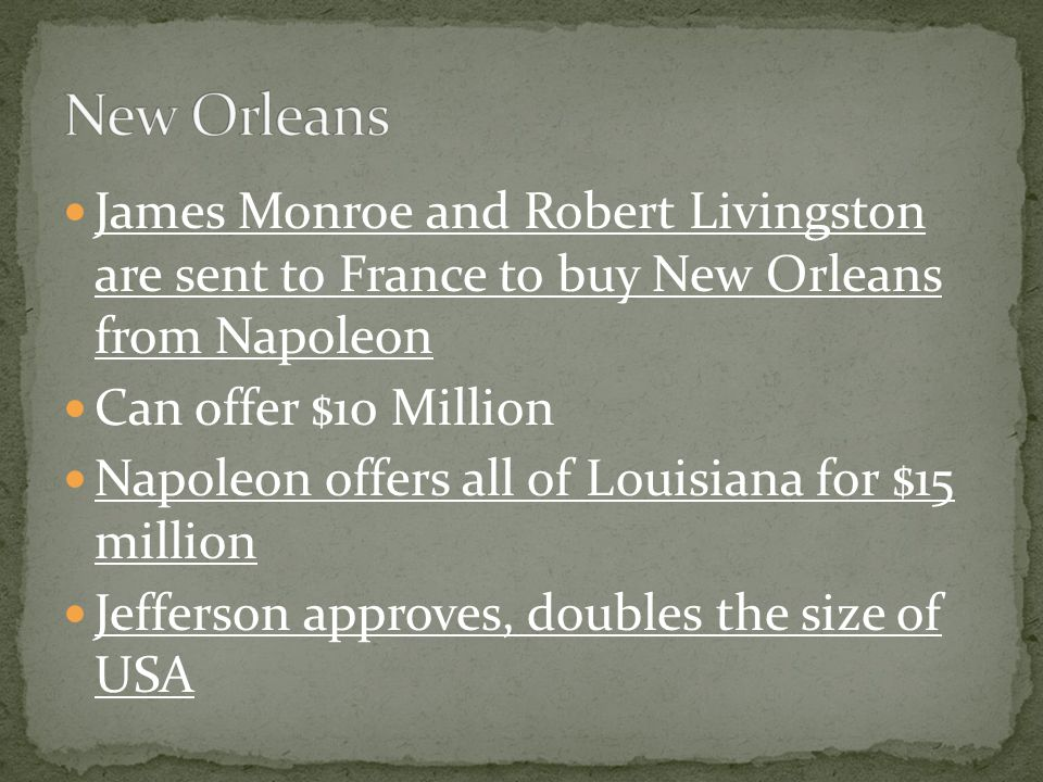 Louisiana Purchase; from whom.How much.