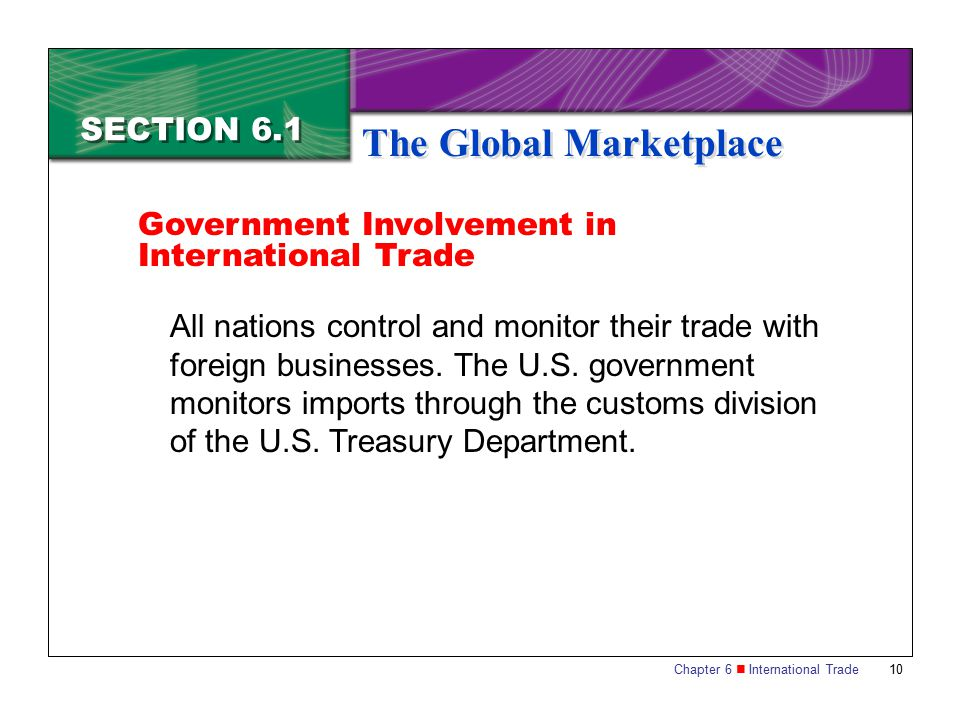Chapter 6 International Trade 10 SECTION 6.1 The Global Marketplace All nations control and monitor their trade with foreign businesses. The U.S. gove