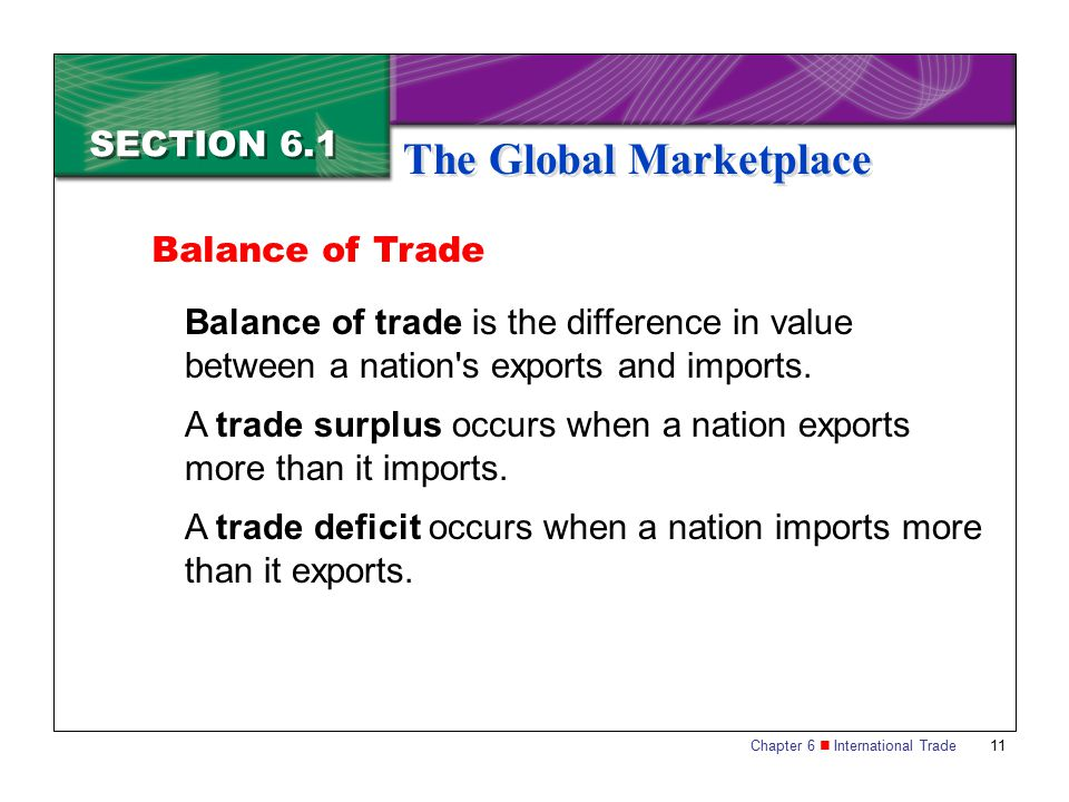 Chapter 6 International Trade 11 SECTION 6.1 The Global Marketplace Balance of trade is the difference in value between a nation's exports and imports