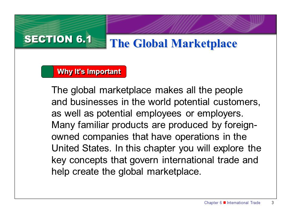 Chapter 6 International Trade 14 SECTION 6.1 The Global Marketplace A tariff (sometimes called a duty) is a tax on imports.