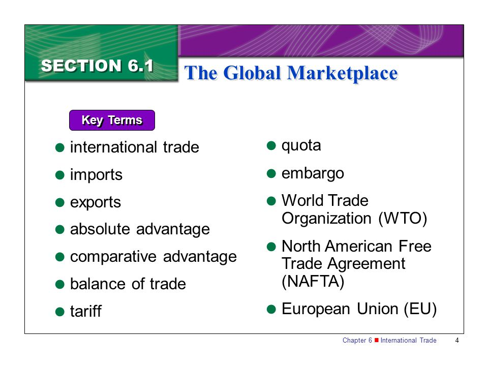 Chapter 6 International Trade 4 SECTION 6.1 The Global Marketplace Key Terms  international trade  imports  exports  absolute advantage  comparat
