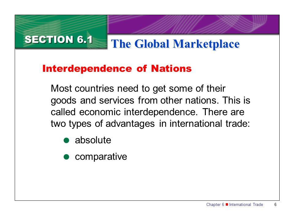 Chapter 6 International Trade 7 SECTION 6.1 The Global Marketplace Absolute Advantage Absolute advantage occurs when a country has special natural resources or talents that allow it to produce an item at the lowest cost possible.