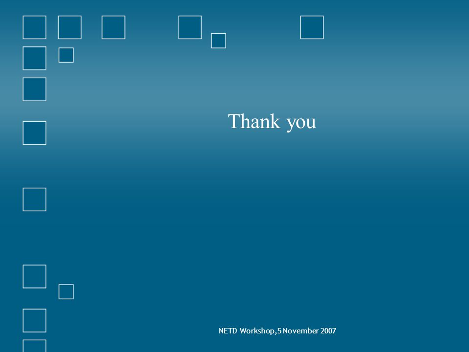 NETD Workshop,5 November 2007 Thank you