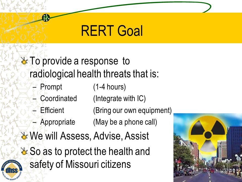 RERT Goal To provide a response to radiological health threats that is: –Prompt (1-4 hours) –Coordinated (Integrate with IC) –Efficient (Bring our own