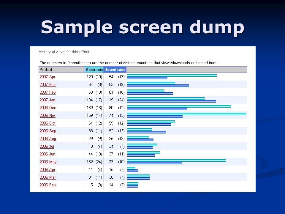 Sample screen dump