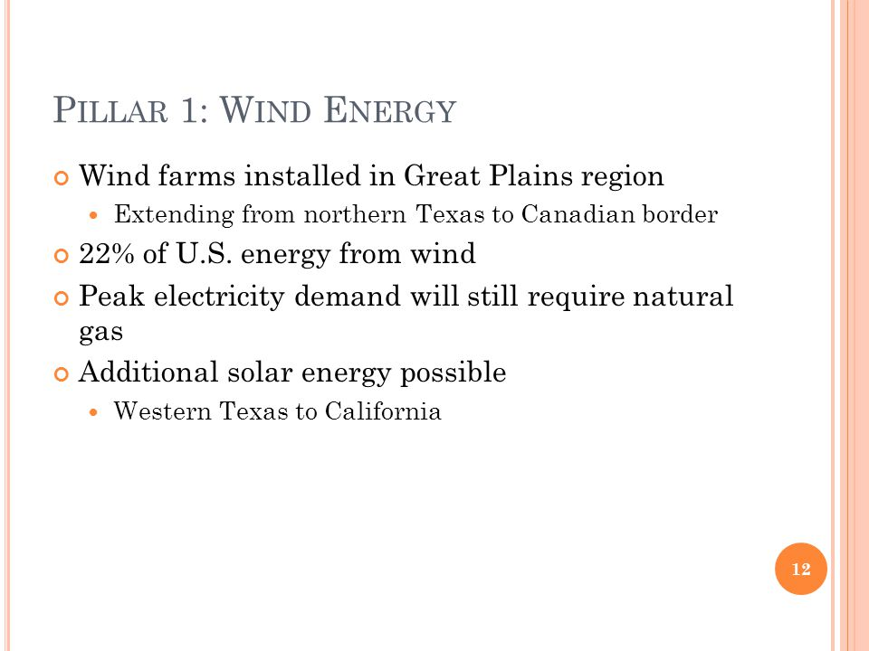 P ILLAR 1: W IND E NERGY Wind farms installed in Great Plains region Extending from northern Texas to Canadian border 22% of U.S. energy from wind Pea