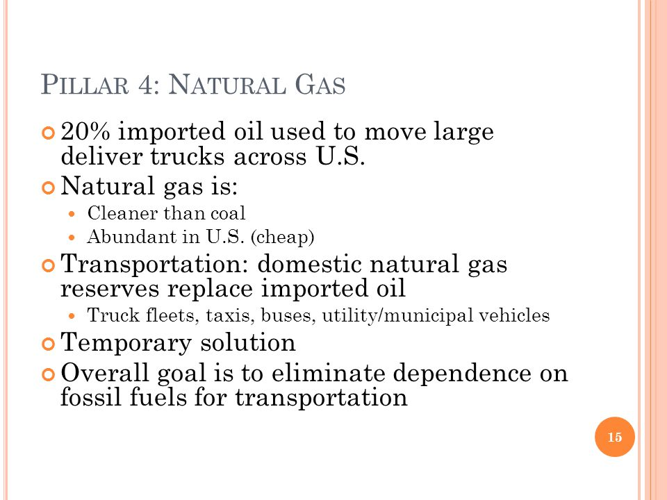 P ILLAR 4: N ATURAL G AS 20% imported oil used to move large deliver trucks across U.S. Natural gas is: Cleaner than coal Abundant in U.S. (cheap) Tra