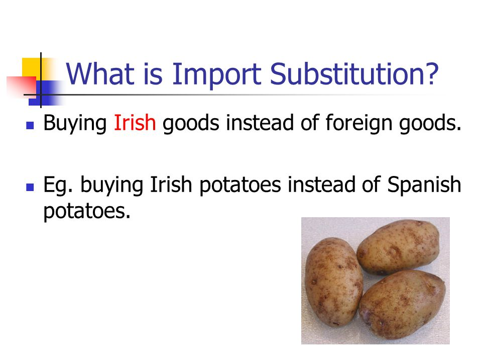 What is Import Substitution? Buying Irish goods instead of foreign goods. Eg. buying Irish potatoes instead of Spanish potatoes.