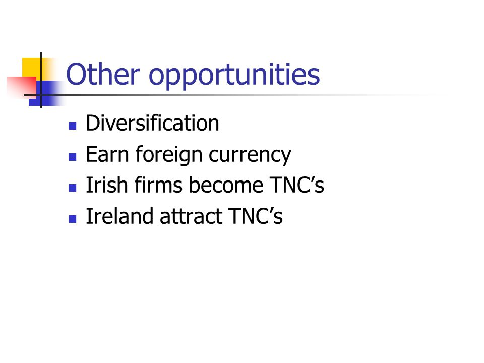 Other opportunities Diversification Earn foreign currency Irish firms become TNC's Ireland attract TNC's