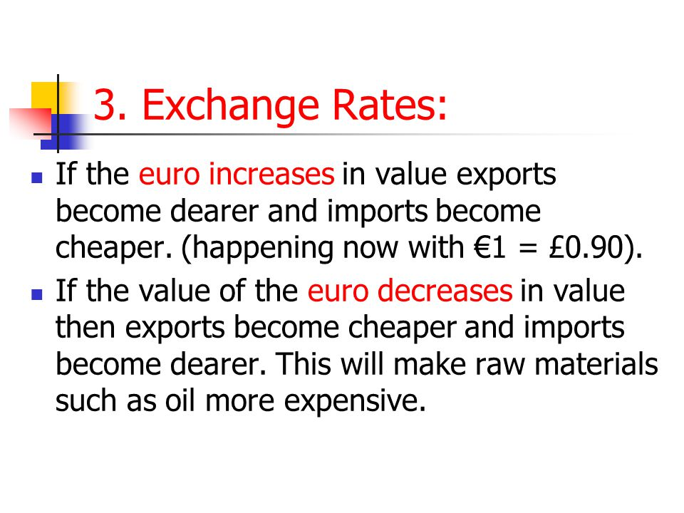 3. Exchange Rates: If the euro increases in value exports become dearer and imports become cheaper. (happening now with €1 = £0.90). If the value of t