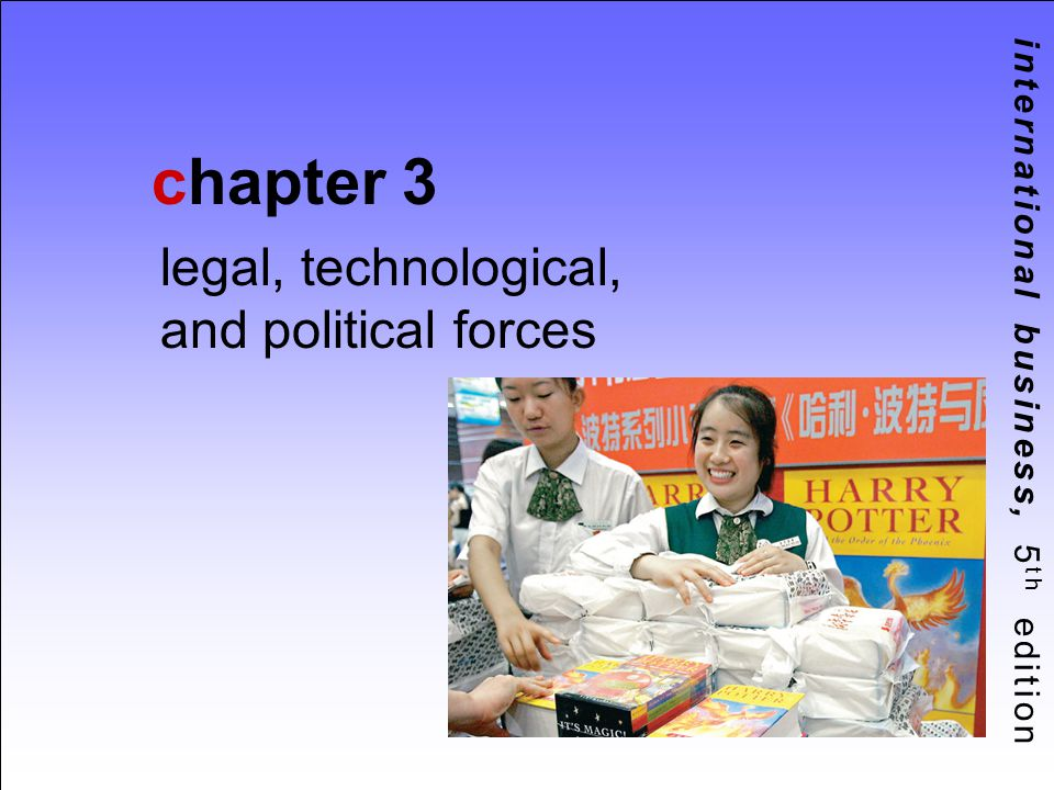 3-2 Chapter Objectives 1 Describe the major types of legal systems confronting international businesses Explain how domestic laws affect the ability of firms to conduct international business List the ways firms can resolve international business disputes