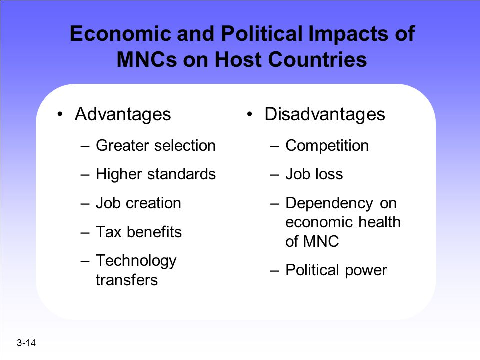 3-14 Economic and Political Impacts of MNCs on Host Countries Advantages –Greater selection –Higher standards –Job creation –Tax benefits –Technology