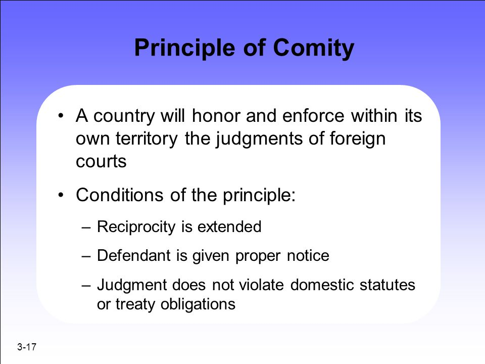 3-17 Principle of Comity A country will honor and enforce within its own territory the judgments of foreign courts Conditions of the principle: –Recip