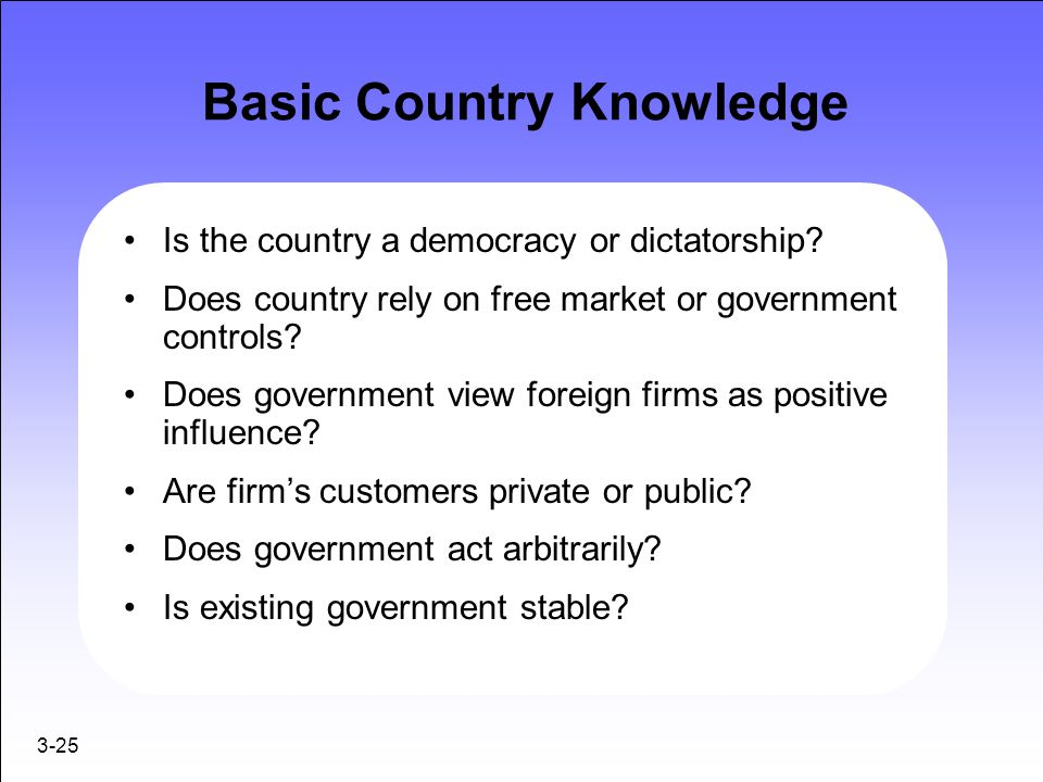 3-25 Basic Country Knowledge Is the country a democracy or dictatorship? Does country rely on free market or government controls? Does government view