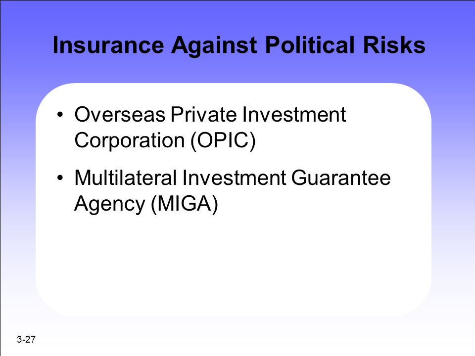 3-27 Insurance Against Political Risks Overseas Private Investment Corporation (OPIC) Multilateral Investment Guarantee Agency (MIGA)