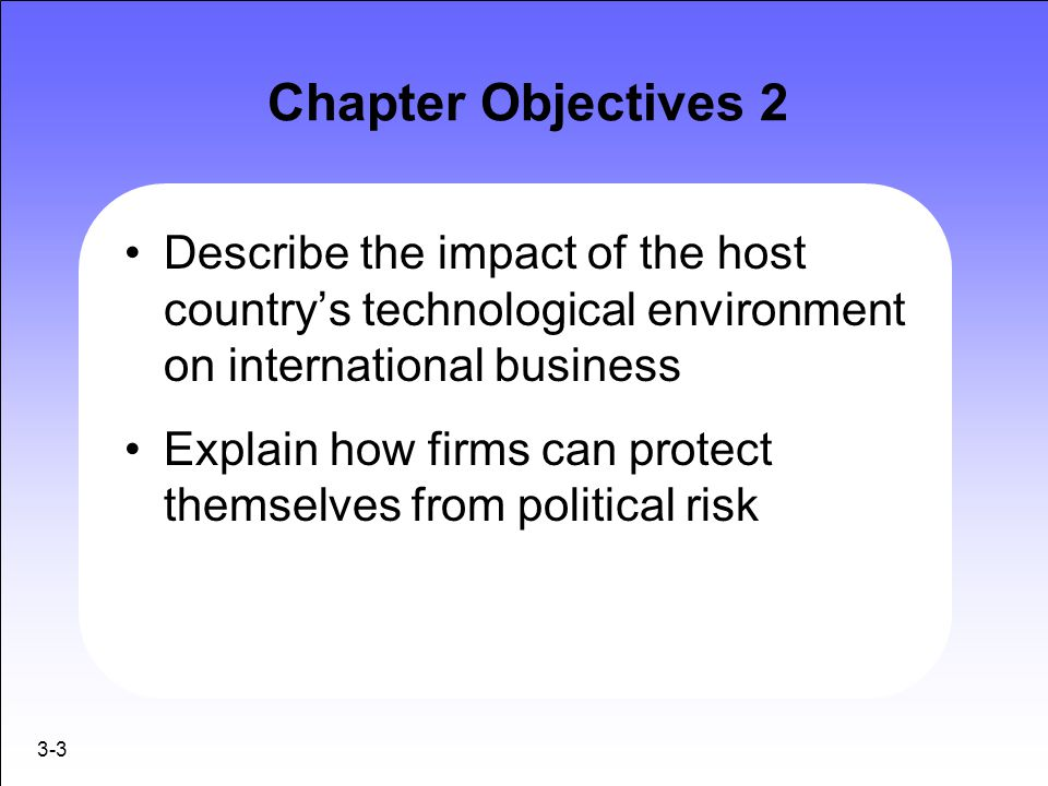 3-3 Chapter Objectives 2 Describe the impact of the host country's technological environment on international business Explain how firms can protect t