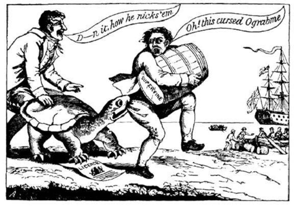 The Embargo Act Embargo ActTo punish the British, Congress passed the Embargo Act in December 1807 embargoAn embargo prohibits trade with another country ALLIn addition to Britain, the act banned imports and exports from ALL foreign countries Jefferson and Madison wanted to avoid war, but they wanted to hurt Britain by banning the trade of agricultural products The Act was a disaster- Americans had no trade and it was ineffective against the British Nonintercourse ActCongress then enacted the Nonintercourse Act which prohibited trade only with Britain and France