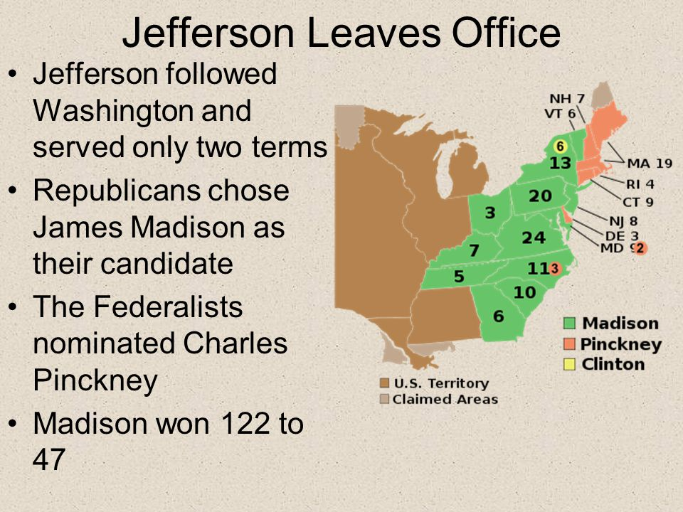 Jefferson Leaves Office Jefferson followed Washington and served only two terms Republicans chose James Madison as their candidate The Federalists nominated Charles Pinckney Madison won 122 to 47