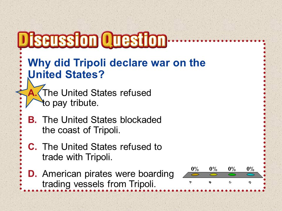 A.A B.B C.C D.D Section 3Section 3 Why did Tripoli declare war on the United States.